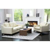Abbyson Allegra Cream Top-grain Leather 2-piece Seating Set