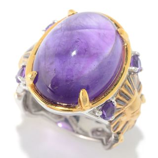 Michael Valitutti Palladium Silver Cleopatra African Amethyst Pharaoh Ring