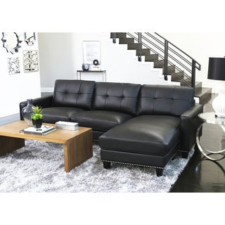 Abbyson Carmelo Black Top Grain Leather Reversible Sectional  sc 1 st  Overstock.com : black leather couch sectional - Sectionals, Sofas & Couches