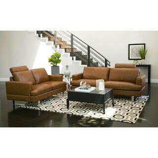Abbyson Edison Mid Century Camel Leather 2 Piece Living Room Set