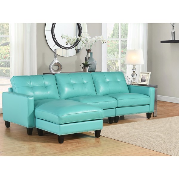 Turquoise Leather Sectional Sofa