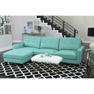 Abbyson Carmelo Turquoise Top Grain Leather Reversible Sectional