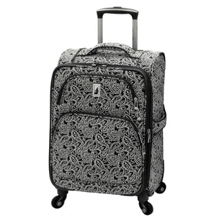 London Fog Greenwich Collection Black Paisley 20-inch Expandable Carry-on Rolling Upright Suitcase