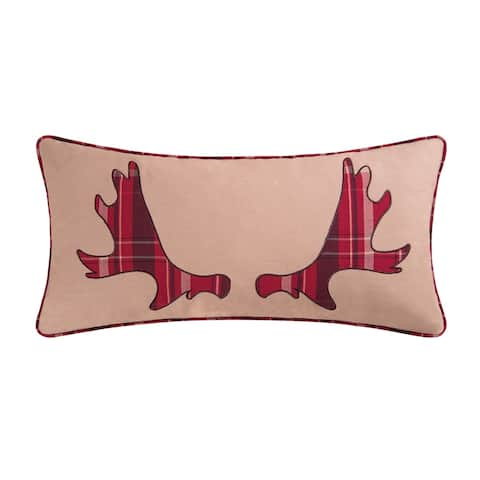 Moose Rack Embroidered 12x24 Throw Decorative Accent Throw Pillow