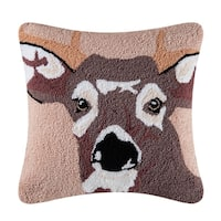 In The Woods Brown Deer Animal Hooked Pillow 18x18 - 18 X 18
