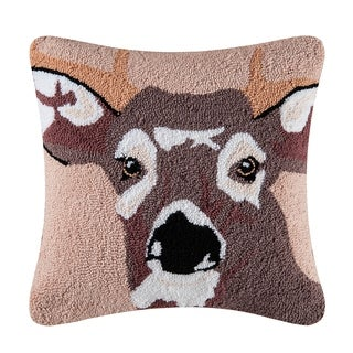 In The Woods Deer Hooked 18 Inch Throw Pillow