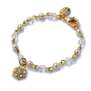 Sweet Romance Little Girls 14K Gold and Pearl Charm Bracelet