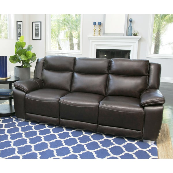Abbyson Leyla Brown Top Grain Leather Reclining Sofa