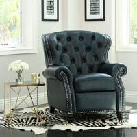 Abbyson Sawyer Navy Top-Grain Leather Push-Back Recliner