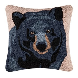 In The Woods Bear Hooked 18 Inch Throw Pillow