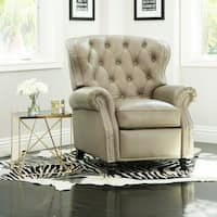 Abbyson Sawyer Grey Top-Grain Leather Push-Back Recliner