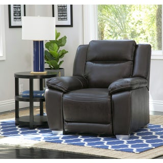 Abbyson Leyla Brown Top-grain Leather Recliner