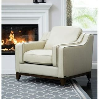 Abbyson Allegra Cream Top Grain Leather Armchair