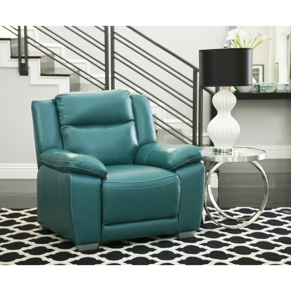 Etonnant Abbyson Leyla Turquoise Top Grain Leather Push Back Recliner