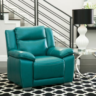 Abbyson Leyla Turquoise Top Grain Leather Reclining Sofa