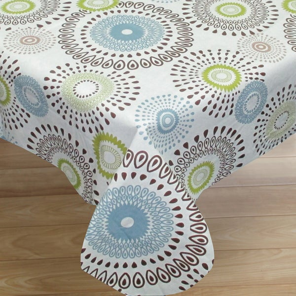 Contemporary Whimsical Print Flannel Back Vinyl Tablecloth 52 X70 Or