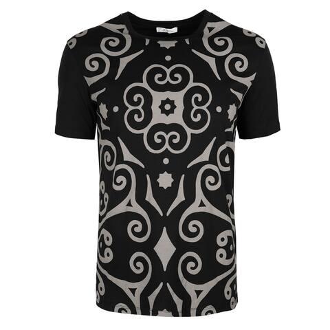 Versace Collection Black Cotton Geometric Print T-shirt