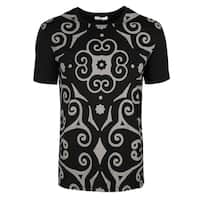 Versace Collection Black Cotton Geometric Print T-shirt