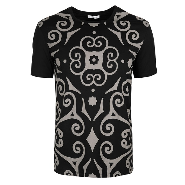 7b0a000ee74c Shop Versace Collection Black Cotton Geometric Print T-shirt - Free  Shipping Today - Overstock - 16005210