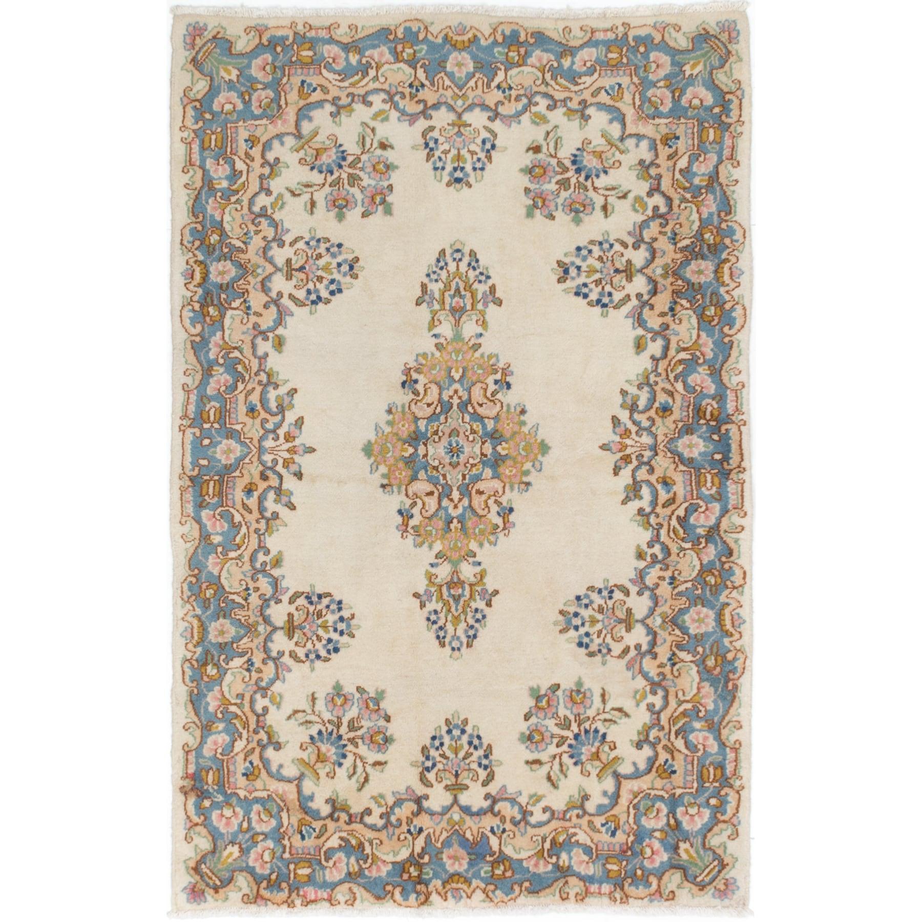 Ecarpetgallery Kerman Ivory Wool Rug (3'10 x 5'11) (Ivory...