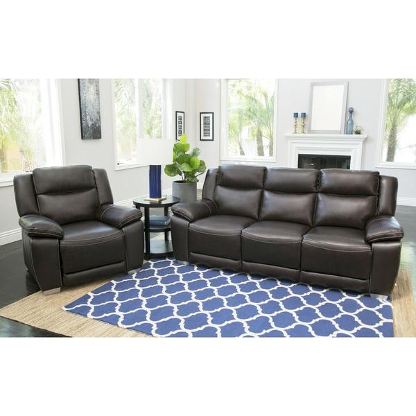 Leyla 5 Piece Fabric Modular Sectional Living Room Set Blue: Shop Abbyson Leyla Brown Top Grain Leather 2-piece