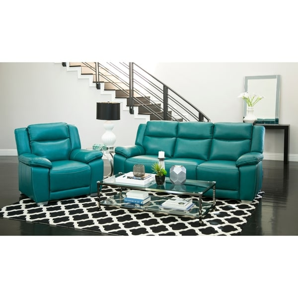Leyla 5 Piece Fabric Modular Sectional Living Room Set Blue: Shop Abbyson Leyla Turquoise Top-grain Leather 2-piece