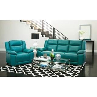 Abbyson Leyla Turquoise Top-grain Leather 2-piece Reclining Set