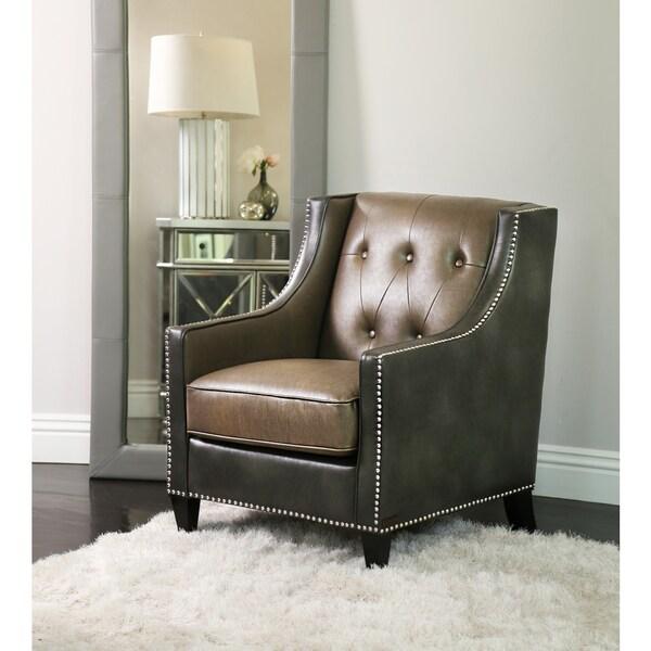 Abbyson Bravo Grey Brown Faux Leather Club Chair