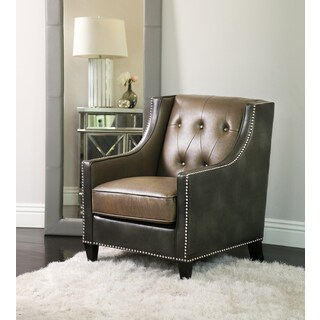 Abbyson Bravo Grey-Brown Faux Leather Club Chair