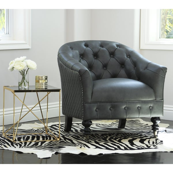 Shop Abbyson Damani Grey Top Grain Leather Tufted Chair