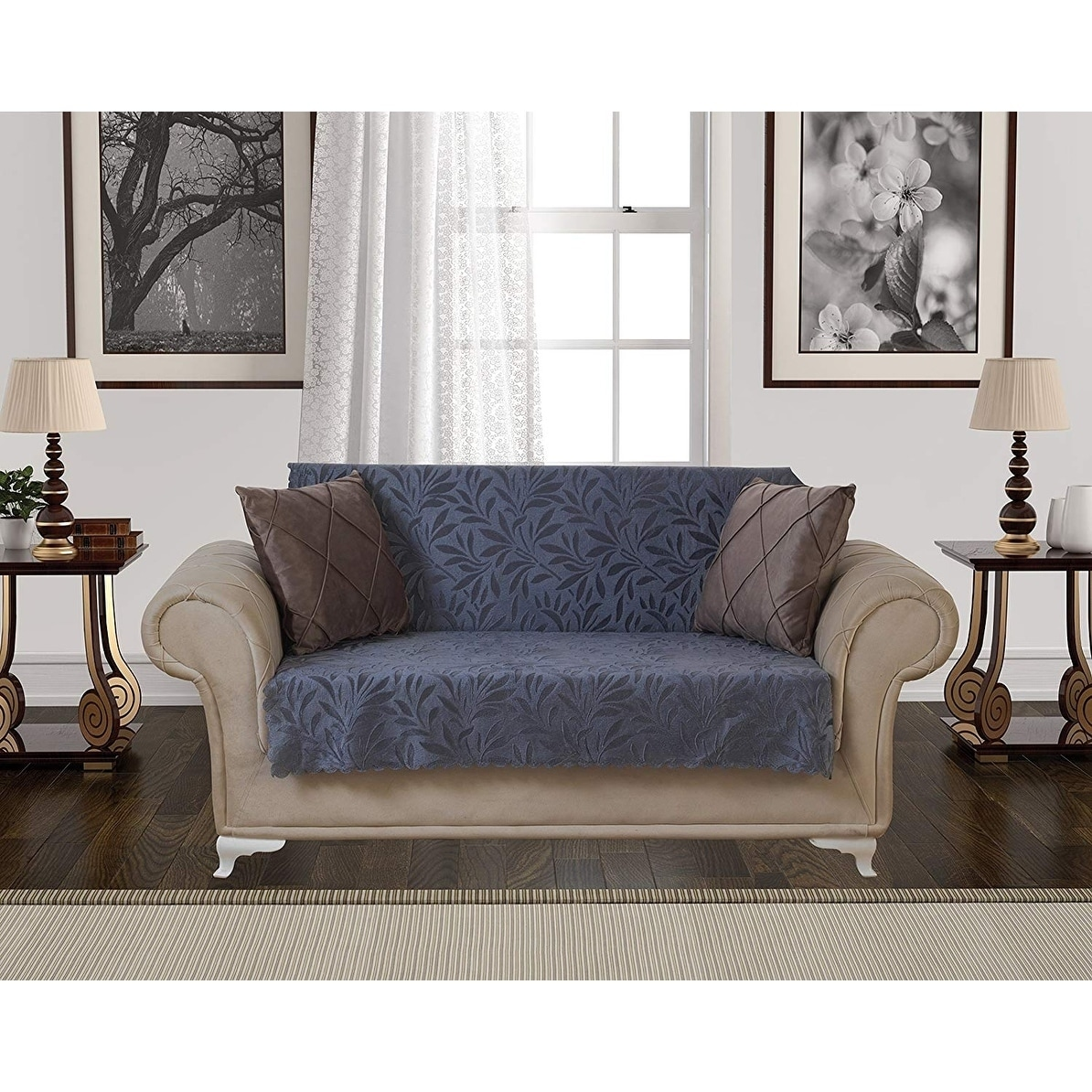 Chiara Rose Acacia Loveseat Slipcover 3 Cushion Sofa Cover 1 Piece Couch Furniture Protector Tan