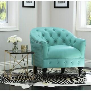 Abbyson Damani Aqua Top-Grain Leather Tufted Chair