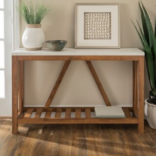 52 Inch A Frame Rustic Entry Console Table   Marble/Walnut