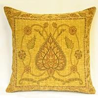 Corona Decor Country Nouveau Floral Fan Leaf Gold Decorative Pillow