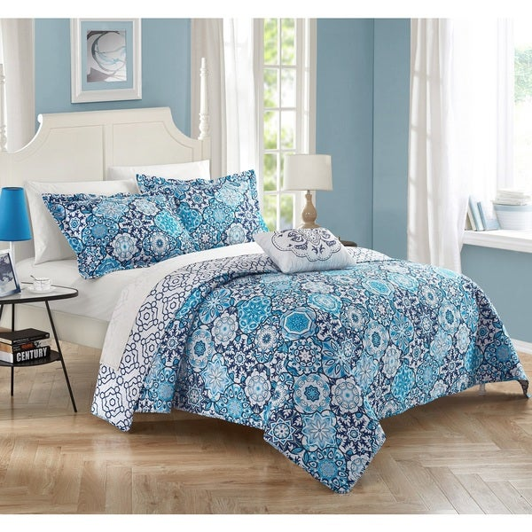 Chic Home 4-Piece Winona 100% Cotton Blue Reversible Duvet Cover Set