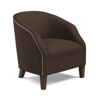 Handy Living Edward Chocolate Brown Barrel Club Arm Chair