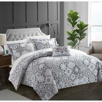 Chic Home 4-Piece Winona Black Cotton Reversible Duvet Cover Set