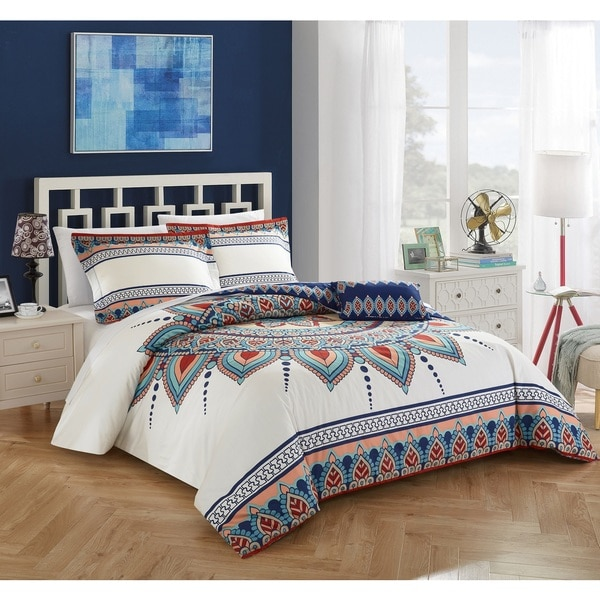 Chic Home 4-piece Agave Blue 100% Cotton Reversible Duvet Cover Set