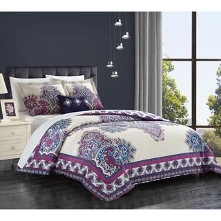 Chic Home 4-piece Taj Purple Cotton Reversible Duvet Cover Set
