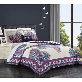 Chic Home 4 Piece Taj Purple Cotton Reversible Duvet Cover Set