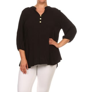 Women's Plus Size Black Embroidered Floral Top