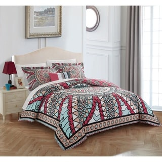 Chic Home 4-piece Donoma Cotton 200 TC Reversible Duvet Cover Set