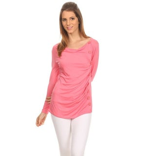 Women's Solid Pink Top with Button Trim Detailing