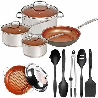 Nuwave Duralon Ceramic Non-Stick 7-Piece Cookware Set with BBQ Grill Pan & Utensils