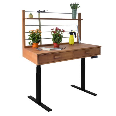 Havenside Home Bavon Sit to Stand Adjustable Height Potting Bench in Natural Wood