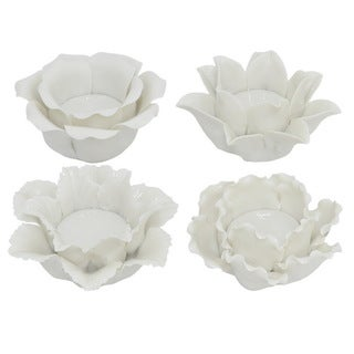 Three Hands White Ceramic Votive Candle Holders (Set of 4)