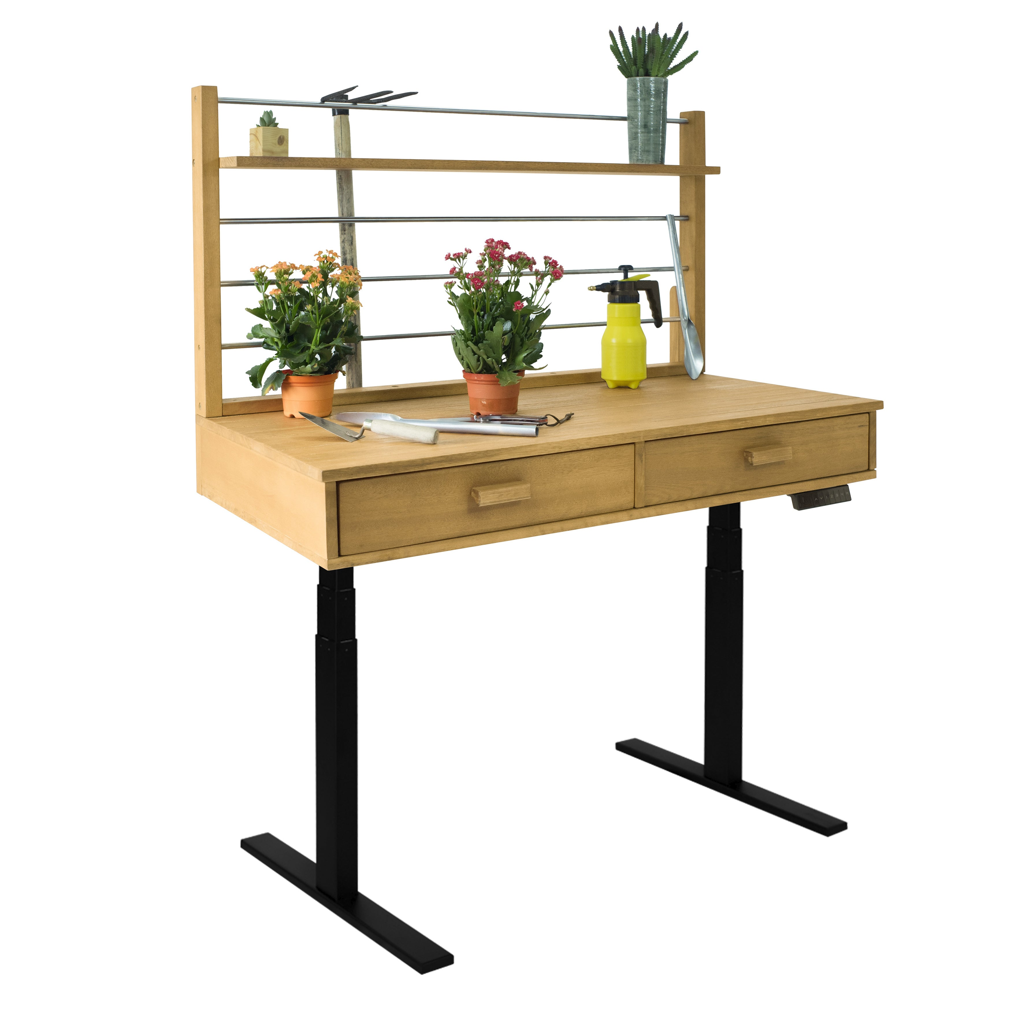Sit to Stand Adjustable Height Potting Bench in Sand-splashed