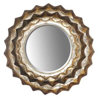 Hobbitholeco Sunburst Bronze Metal 13.5-inch Round Accent Wall Mirror - Antique Gold