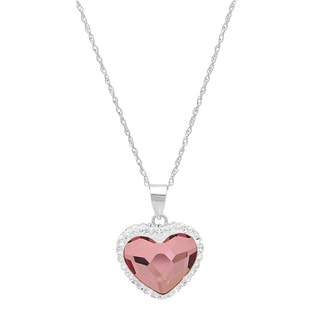 Sterling Silver Pink Crystal Bubble Heart Pendant
