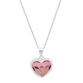 Marabela Sterling Silver Pink Crystal Bubble Heart Pendant